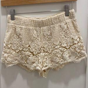 Cream Lace Shorts with Fringe Detail